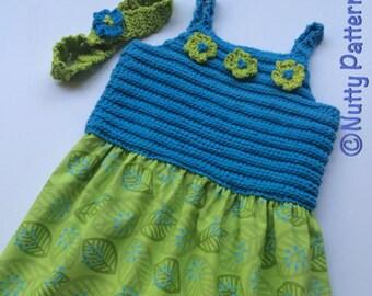 Crochet Pattern * Tatum Sundress * Summer dress * PDF Instant Download Pattern #495 * Fabric skirt * Beach Dress for Baby, Toddler, Child