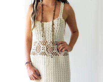 TAKE 40% OFF Crochet Mini Boho Dress / Tunic open wave //beige bohemian dress/M/MEDIUM