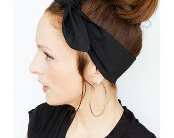 Black Headband - Tie up Headband - Black Hair Scarf Black Head Wrap Black Dolly Bow Hair Accessories Retro VIntage Black Bandana Pinup Goth