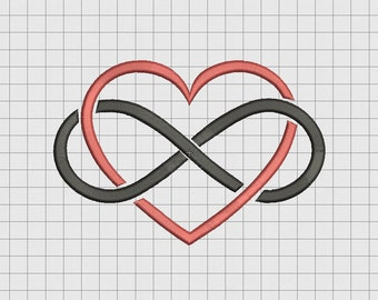 Heart Infinity Embroidery Design in 2x2 3x3 4x4 5x5 and 6x6 Sizes