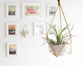 The Planter |  Hanging Brass Air Plant Holder with Cup, Modern Minimalist Geometric Ornament