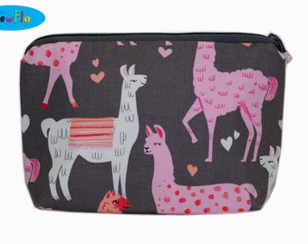Knitting Notions Pouch | Cosmetic Case | Makeup Bag | Llama Bag | Alpaca Pouch | Zippered Pouch