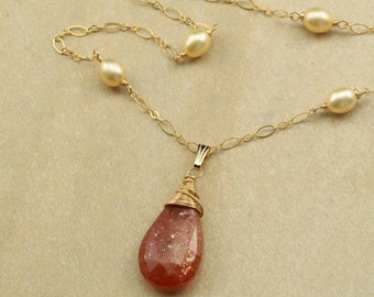 Necklace with Sunstone Pendant on Champagne Freshwater Pearl and Gold Filled Chain