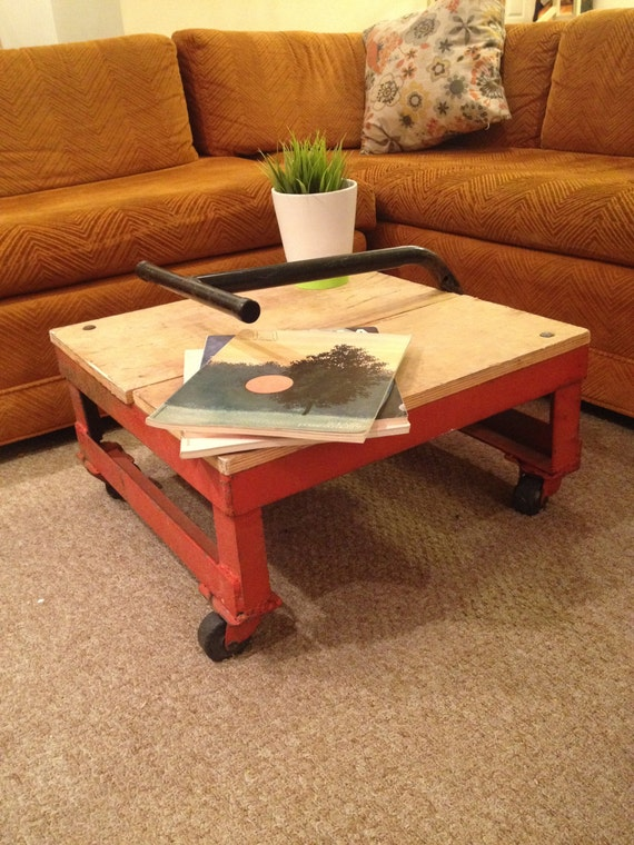 Industrial Coffee Table On Casters Industrial Side Table Metal Cart