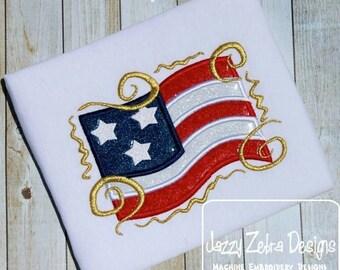 Fancy Flag Applique embroidery Design - flag Applique Design - 4th of july Appliqué Design - america Appliqué Design - USA Applique Design
