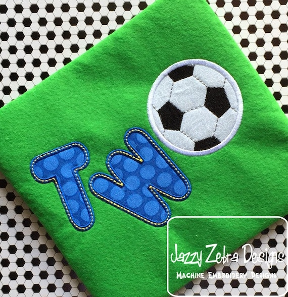 Two Soccer Appliqué embroidery Design - 2nd birthday appliqué design - two year old
