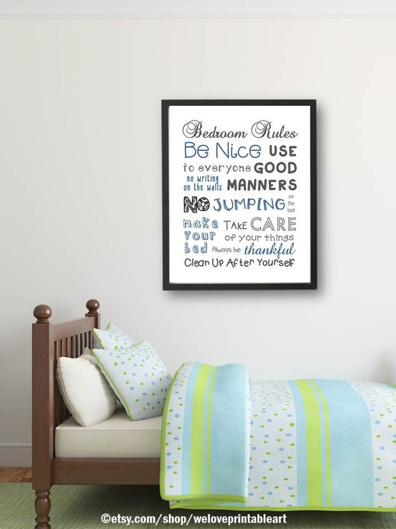 Bedroom Rules Bedroom Decor Kids Room Wall Art Quote
