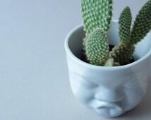 Head Planter, Porcelain Vase, Succulent Planter, Modern Planter, Love Gifts, Pottery Pot, Small Container, Face Planter, SCULPTUREinDESIGN