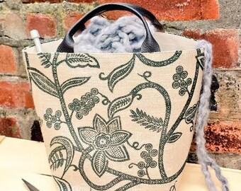 PAINTED HESSIAN BAG Large Knitting Crochet Project Tote Jute Burlap Shopping Wool Holder Yarn Organizer Leather Handles Denim Handmade Gift