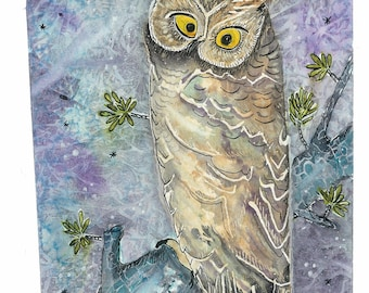 Crazy Eyed Horned Owl, Watercolour and India Ink Archival Print  8 x 10