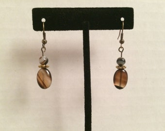 Banded Onyx Drop Earrings