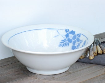 "French vintage big bowl blue flowers, French vintage decor style ""Digoin"" for this big bowl, brocante française"