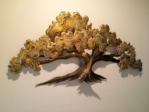 Vintage Mid Century Modern Metal Tree Of Life Wall Sculpture