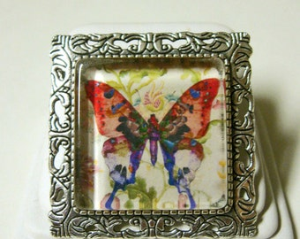 Butterfly convertible pendant or brooch with chain - WAP35-001