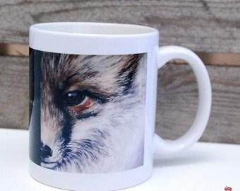 Ceramic mug of a fox painting, digital design based on one of my original paintings (602)