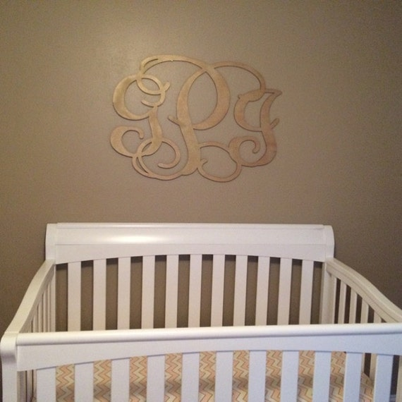 Nursery Wood Wall Decor : Nursery decor wooden monogram wall art large by