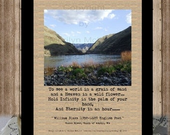 Eternity Quote Print, Infinity in a Grain of Sand, Snake River, OR, Wm.Blake, instant download, to frame, poster, art, high res JPG image.