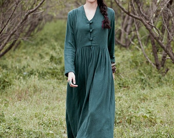 Women long dress - Long sleeves Dress - Pleated Dress - Spring/fall dress - Linen dress - Made to order