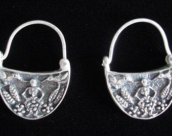 Mexican Day of the Dead hoop earrings seated skeleton, birds, and flowers blackened 925 Sterling silver