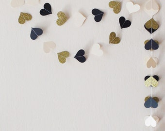 New Year's Eve Party Decoration Black and Gold New Years Eve Ivory Black Gold glitter heart paper garland Gold wedding Birthday Party decor