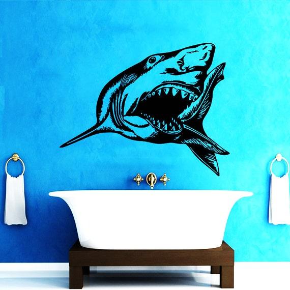 wall decals aggressive shark decal vinyl sticker bathroom. Black Bedroom Furniture Sets. Home Design Ideas