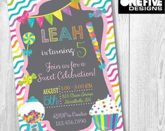 Candy Party Birthday Invitation - Printable (5x7)