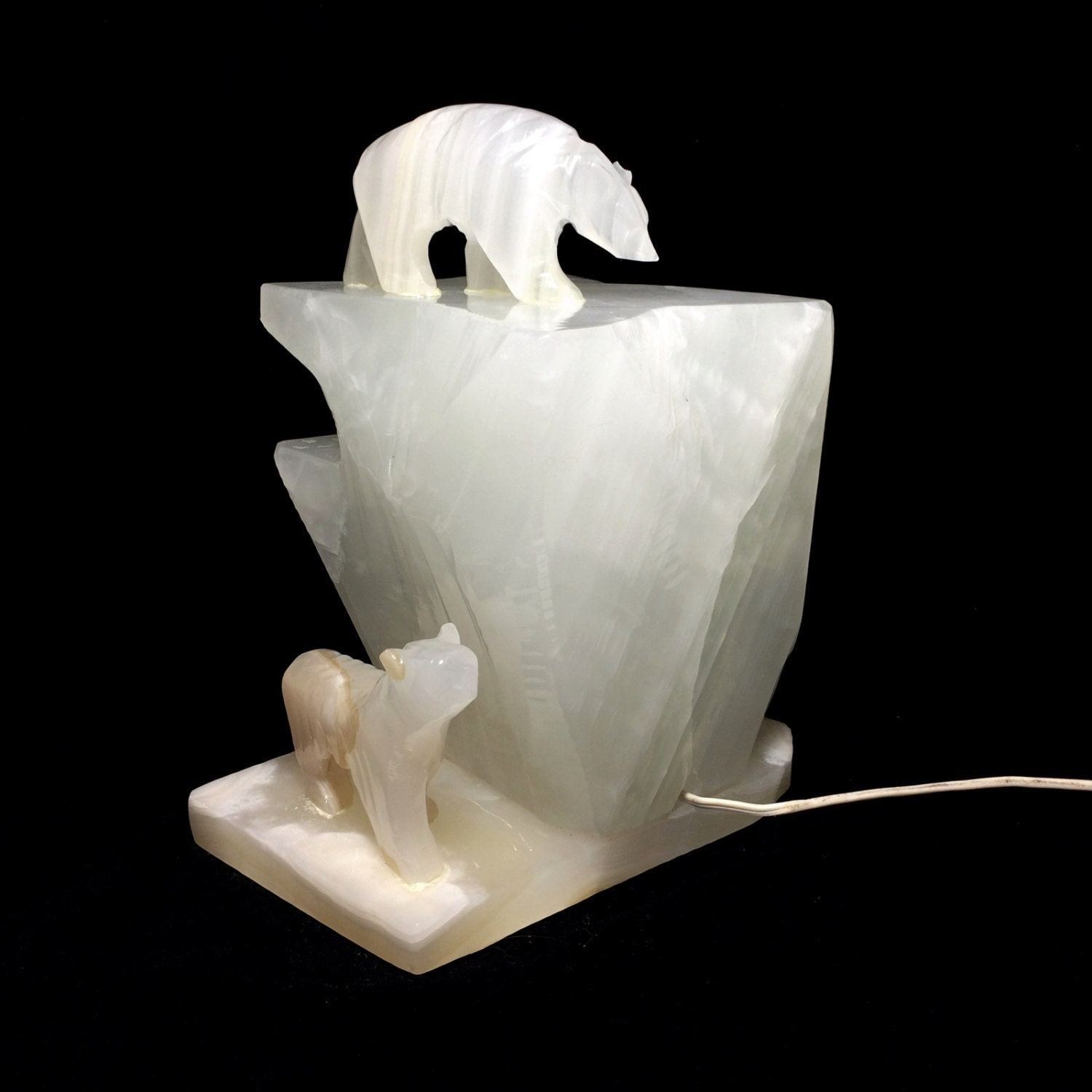Vintage Carved Stone Polar Bear Sculptural Lamp White Figural