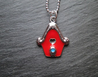 Red Petite Birdhouse Charm Necklace