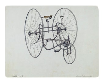 Old Fashioned Bicycle, Design Illustration Print