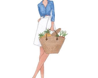 Farmers Market Fashion Illustration Print
