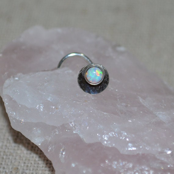 White Opal Nose Stud - Silver Nose Ring 18 gauge - Tragus Earring - Cartilage Earring - Forward Helix Earring - Nose Screw - Nose Piercing