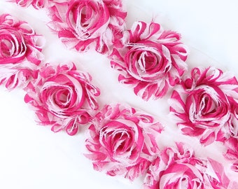 Rosette Trim - Hot Pink w/ White stripe Shabby Chiffon Flowers shabby flower trim, shabby chiffon rose trim, shabby rosette trim