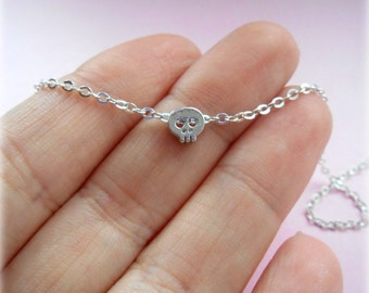Tiny Skull Anklet - Silver Plated, Extendible - Dainty, Minimalist Jewellery