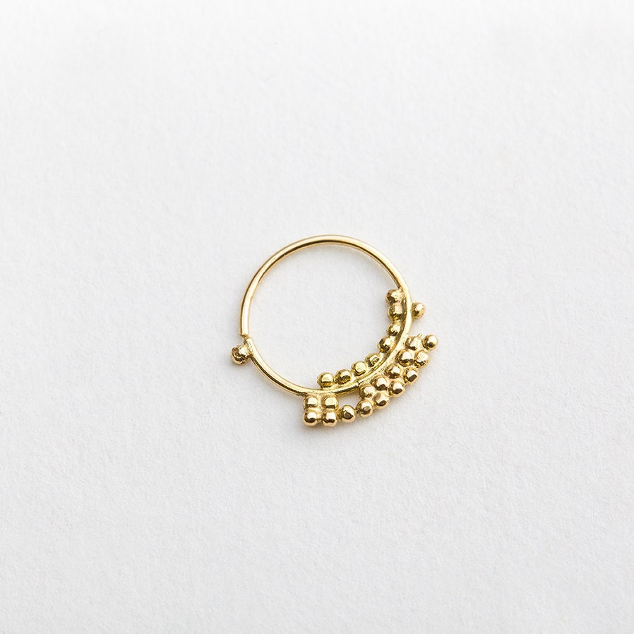 unique nose ring solid gold nostril jewelry asymetrical nose
