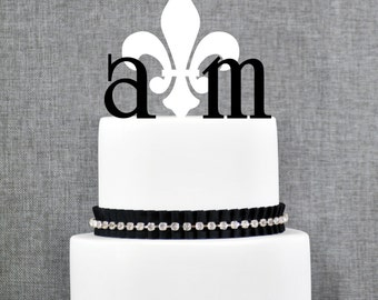 Monogram Wedding Cake Topper – Custom 2 Initials with Fleur de lis Topper - (T085)