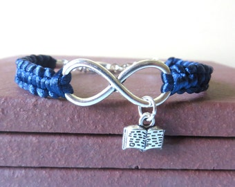 Infinity Love to Read Librarian Reading Teacher Eduucator Bracelet Bar You Choose Your Cord Color