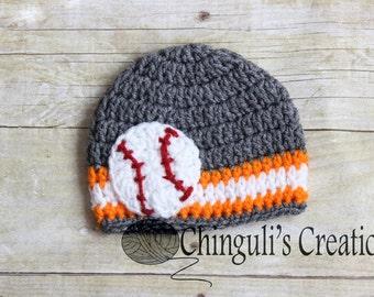 Baltimore Orioles Baby Baseball Hat Grey Orange White Baby Baseball Team hat baby crochet hat