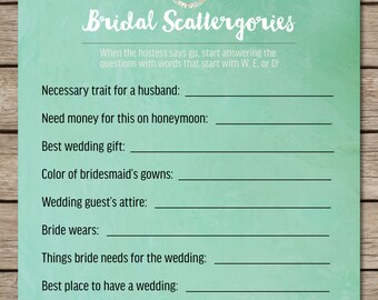 Mint Watercolor Scattergories Bridal Shower & Wedding Game