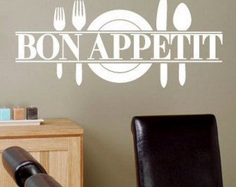 Bon Appetit Wall Decal Kitchen Dining Room Decal Funny Cute Wall Decal Bon Appetit Wall Decal Vinyl Wall Decal Kitchen Decal