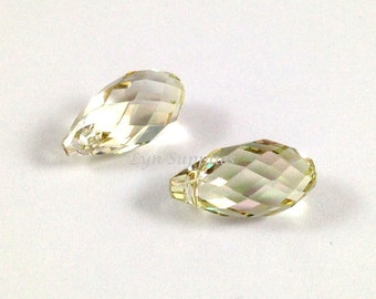 6010 LUMINOUS GREEN 13mm Swarovski Crystal Briolette Drop, 2 pieces or 10 pieces