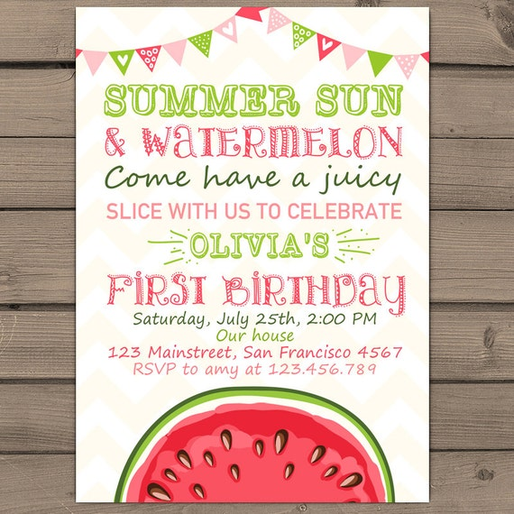 Watermelon Birthday Invitation Sunshine Summer First Birthday