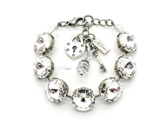 CRYSTAL CLEAR 14mm Rivoli Charm Bracelet Made w/ Swarovski Crystal *Antique Silver or Rhodium Finish *Karnas Design Studio™ *Free Shipping