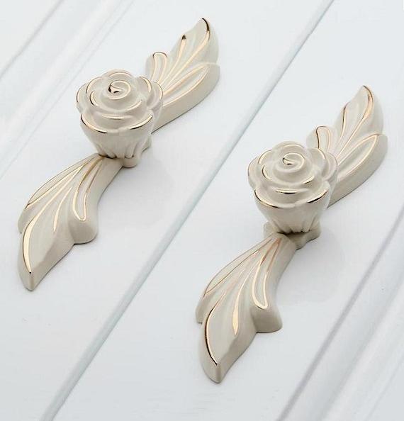 dresser pulls drawer pull handles white gold rose kitchen. Black Bedroom Furniture Sets. Home Design Ideas