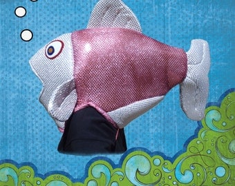 Fish Costume  Fits Adult or Child  Metallic dot fabric covered foam head with underarm ties, lined