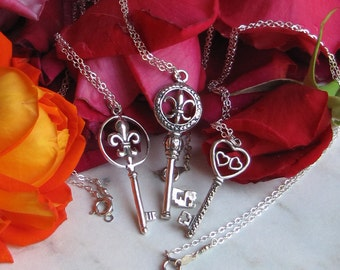 Sterling Silver key pendant necklace