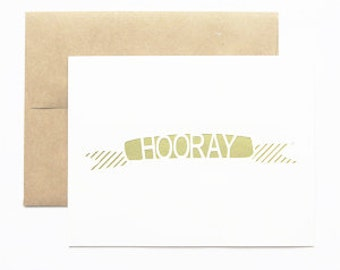 Hooray Gold Banner Greeting Card