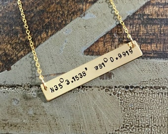 Gold Bar Necklace Coordinates Jewelry Gold Necklace Handstamped Jewelry Handstamped Necklace Name Necklace Hammered Necklace