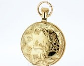 GF Elgin Pocket Watch with Engraved Sun and Daisies.