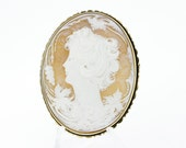 Female Figure Cameo with Pines and Oak Leaves Convertible Brooch Pendant 14K