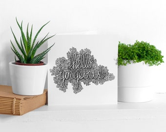 Hello Gorgeous Illustrated Greeting Card | Cards | Special Occasion | Black & White | Lettering | Ornamental | Detailed | Typography | Gift